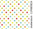Seamless pattern or texture with colorful polka dots on white background for kids background, blog, web design, scrapbooks, party or baby shower invitations and wedding cards. - stock vector