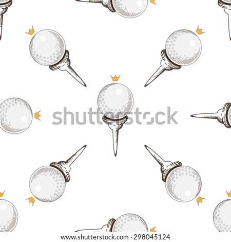 seamless pattern. Pattern with golf elements background. Golf - seamless background. Background for use in design, web, packing, textile. Golf  ball
