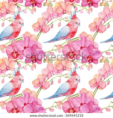 Seamless pattern,pink cockatoos,orchids flowers,watercolor illustration - stock photo