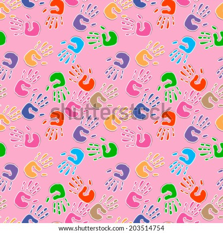 Seamless pattern, prints of hands.  - stock photo
