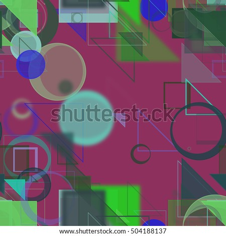 Seamless pattern, Random circle, square, rectangle & triangle shape, digital generative art for design texture & background