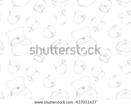 Seamless pattern. Retro glass. Dishware. Pencil drawing. Label or banner design. Food and drink background concept.