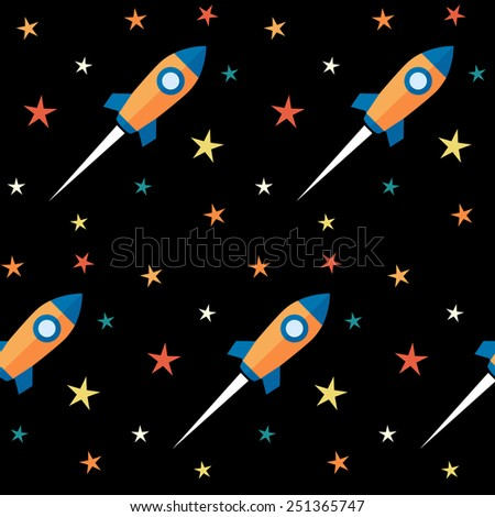 Seamless pattern. Rockets and stars over black background.