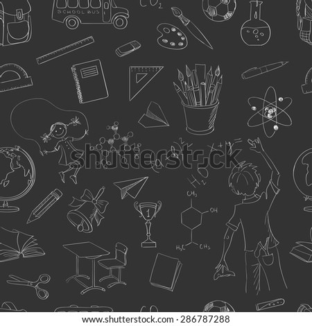 seamless pattern school board freehand drawing - stock photo