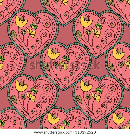 Seamless Pattern School Sketchy Doodle Design- Hand-Drawn Illustration Background - stock photo