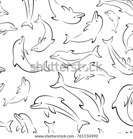 Dolphin outline stock images royalty free images vectors seamless pattern sea creatures animals dolphin outline pictograms black contours isolated on tile pronofoot35fo Choice Image