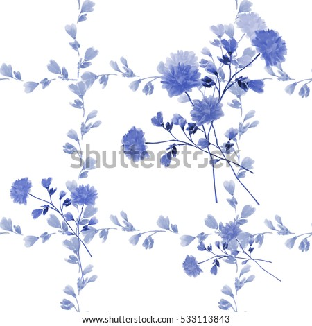 Seamless pattern small blue flowers and bouquets and blue branches on a white background. Watercolor