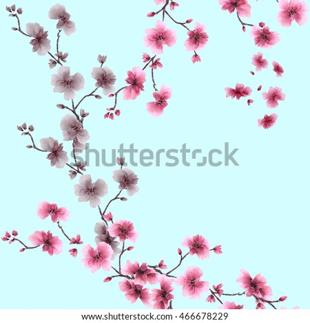 Seamless pattern small pink and gray flowers on the blue background. Watercolor.