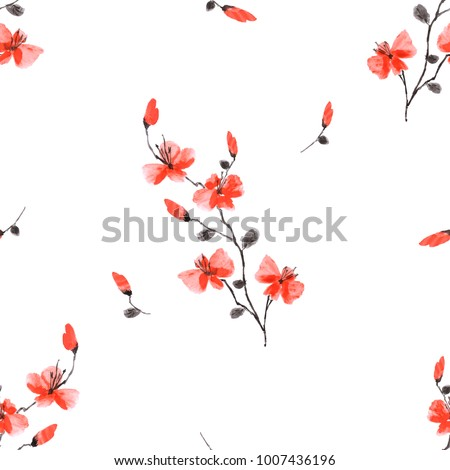 Seamless pattern small wild red flowers on the white background. Watercolor.