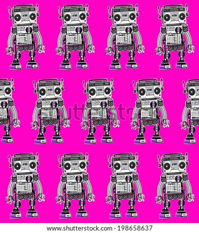 Seamless pattern, texture, colored illustration with electronic musical robot on orange background. Collage of parts and mechanisms. Vinyl records, cassette recorder, speakers, wires, springs.