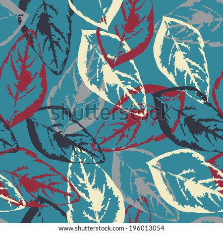 Seamless pattern texture with fallen leaves on blue background