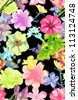 seamless pattern,tropical flowers,watercolor floral,high fashion - stock photo