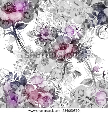 Seamless pattern watercolor bouquets. Beautiful bouquet pattern watercolor handmade in rococo. Ideal exquisite design and decor. Wonderful fashionable print. Rococo style. - stock photo