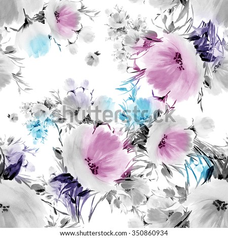 Seamless pattern watercolor flowers G. Vintage, retro effect. Pastel background. Beautiful wallpapers. Lovely print for decoration and design of watercolor drawings. Black and white, monochrome.. - stock photo