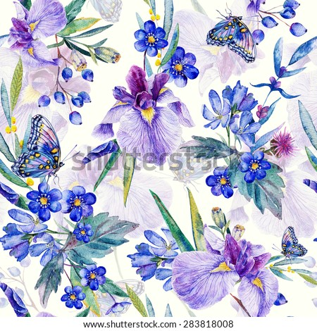Seamless pattern. Watercolor iris, leaves, butterfly. Can be used for gift wrapping paper and other background. - stock photo