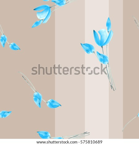 Seamless pattern watercolor of  sky blue tulips on a deep beige background with vertical stripes
