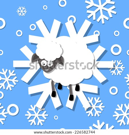 Seamless pattern winter 2015 with sheep and snowflakes - stock photo