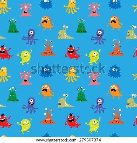 Seamless pattern with a funny monsters - stock photo