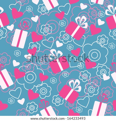 Seamless pattern with a gifts and hearts