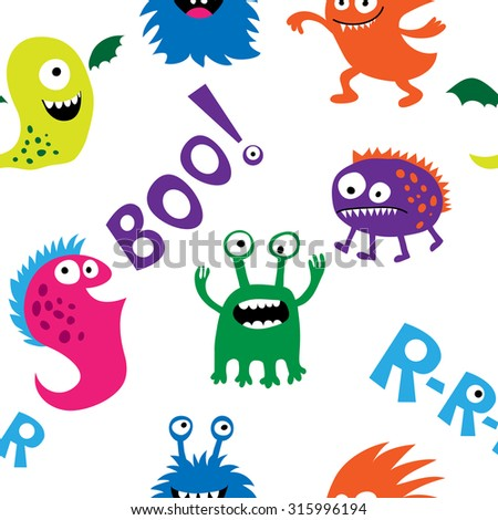 Seamless pattern with a monsters and inscriptions - stock photo