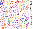 Seamless pattern with a music notes.  Illustration - stock photo