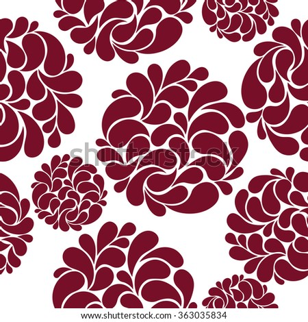seamless pattern with abstract burgundy flowers on a white background  - stock photo