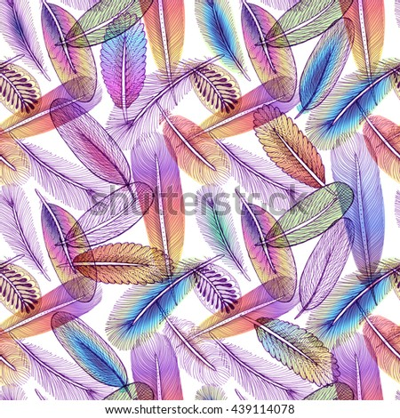 Seamless pattern with abstract colorful feathers.  - stock photo
