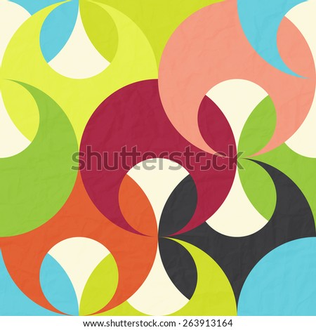 seamless pattern with abstract, colorful, geometric ornament on paper texture  - stock photo