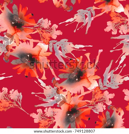Seamless pattern with abstract flowers on a red background.