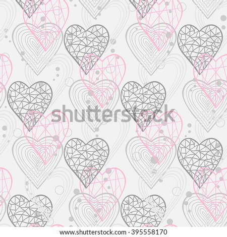 Seamless pattern with abstract hearts for web page site.Happy Valentines Day.Holiday background .Heart background.
