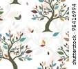 seamless pattern with abstract multicolor trees for your design - stock photo