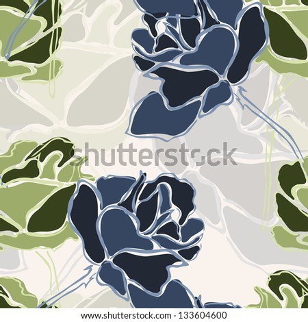 seamless pattern with abstract rose flowers for your design - stock photo