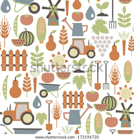 stock photo seamless pattern with agriculture icons 172196720 - Каталог — Фотообои «Еда, фрукты, для кухни»