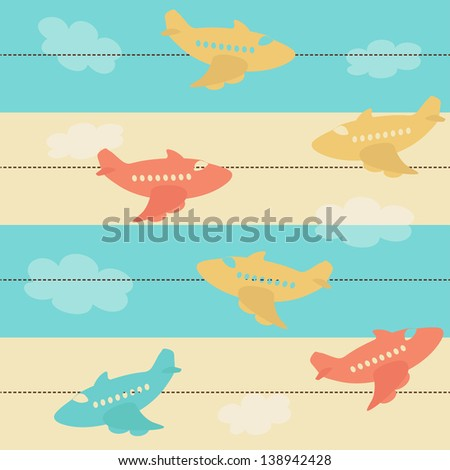 Seamless pattern with airplane silhouettes and stripes. Raster version. - stock photo