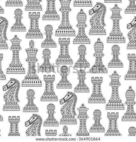 Seamless pattern with all chess pieces. Black and white. Beautiful lace ornament in Indian style.  - stock photo