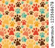 seamless pattern with animal paws - cartoon background - raster illustration - stock vector