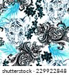 seamless pattern with animal portrait, paisleys, tropical flowers and exotic leaves. watercolour illustration. monochrome in black white and blue. - stock vector