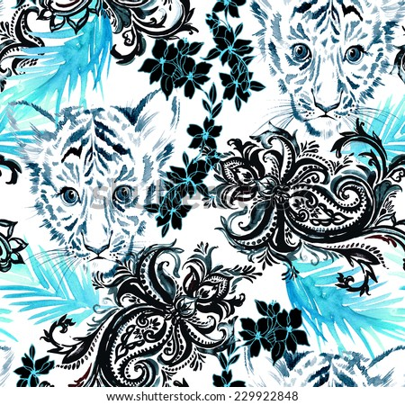 seamless pattern with animal portrait, paisleys, tropical flowers and exotic leaves. watercolour illustration. monochrome in black white and blue. - stock photo