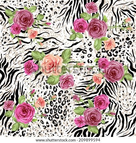 Seamless pattern with animal prints and decorative roses. Raster version. - stock photo