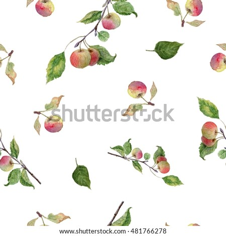 Seamless pattern with apples isolated on white background. Watercolor hand painted. seamless pattern. #2