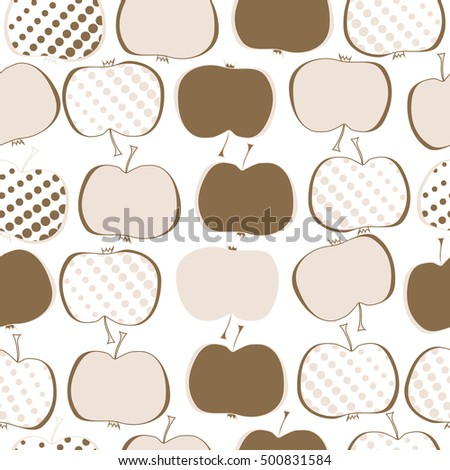 Seamless  pattern with apples motif,halftone.