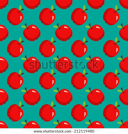 Seamless pattern with apples on green background. Endless print texture. Food. Fruit. Simple cartoon hand drawing illustration. Fabric swatch - raster version - stock photo