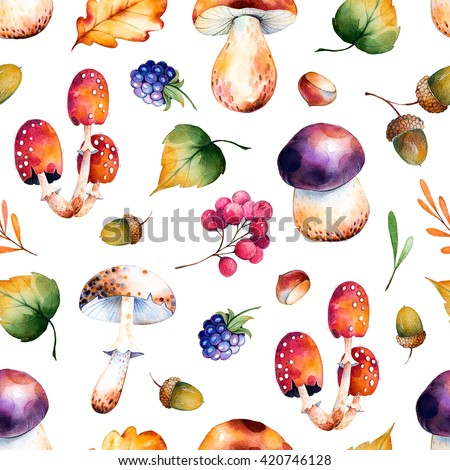 Seamless pattern with autumn leaves,flowers,branches,berries,acorns,blackberries, mushrooms,chestnut.Colorful llustration.Watercolor handpainted texture on white background.Perfect for wallpaper,blog  - stock photo