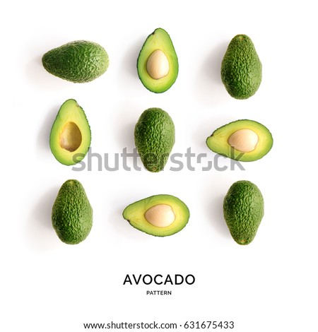 Seamless pattern with avocado. Tropical abstract background. Avocado the white background.