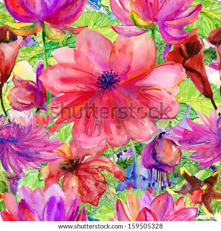 Seamless pattern with Beautiful colorful flowers, Watercolor painting - stock photo