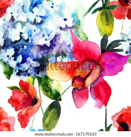 Seamless pattern with Beautiful Hydrangea and Poppy flowers, watercolor illustration
