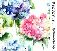 Seamless pattern with Beautiful Hydrangea blue flowers, watercolor illustration  - stock photo