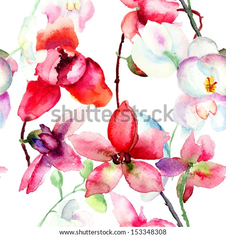 Seamless pattern with Beautiful orchid, watercolor illustration - stock photo