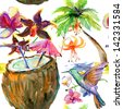 Seamless pattern with bird, orchids, palm tree and coctail - stock photo