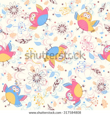 Seamless pattern with birds and flowers. Vintage cartoon background.